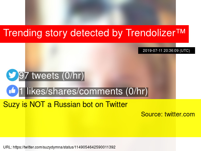 Suzy is NOT a Russian bot on Twitter